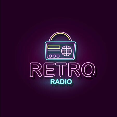 Retro Radio glowing neon lights banner or poster in vintage billboard style, realistic vector illustration isolated on dark background. Night club show or concert.
