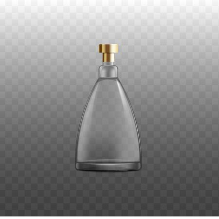 Cognac, whiskey or brandy alcoholic beverages bottle empty with golden lid, realistic vector mockup illustration isolated on transparent background. Drink flask template.