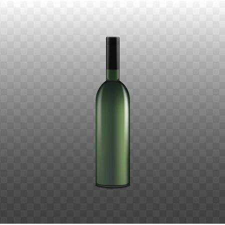 Maqueta de botella de vino verde realista aislada sobre fondo transparente. Plantilla de envasado de bebidas alcohólicas al por menor sin etiqueta con superficie de vidrio brillante - ilustración vectorial