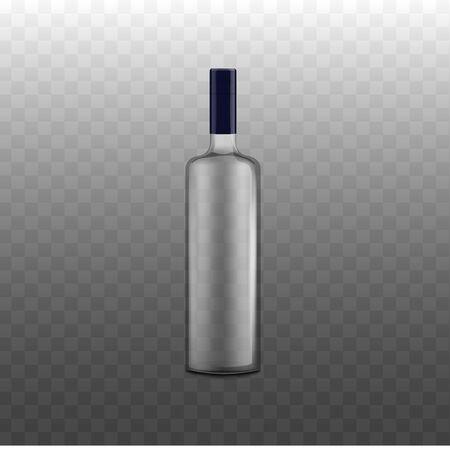 Bouteille en verre pour boissons alcoolisées - modèle de présentation d'identité de marque, illustration vectorielle réaliste isolée sur fond transparent. Modèle de flacon de boissons.