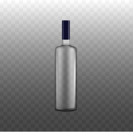 Glass bottle for alcoholic beverages - template for brand identity presentation, realistic vector illustration isolated on transparent background. Drinks flask template.