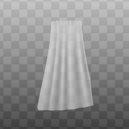 White sheer fabric curtain fluttering, realistic vector illustration mockup isolated on transparent background. House decorative textile template for pattern presentation. Archivio Fotografico - 134874595