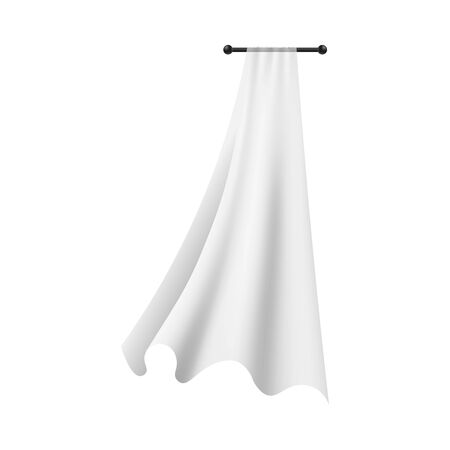 White lightweight fabric curtain fluttering realistic vector illustration mockup isolated on transparent background. Shower or window cloth on cornice template.
