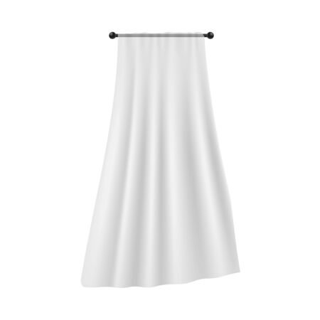 Realistic single white curtain hanging on black rod with flowing silk fabric isolated on white background - soft veil with light smooth textile material . Vector illustration.
