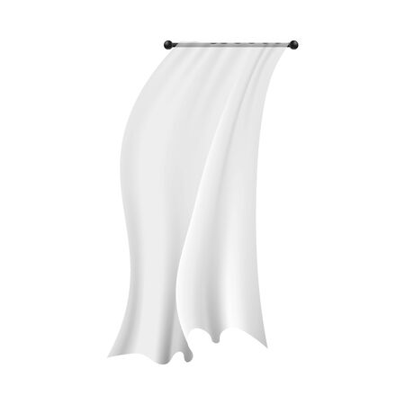 Realistic white hanging curtain blowing in the wind. Textile interior decoration with flowing semi-transparent fabric isolated on white background - vector illustration.