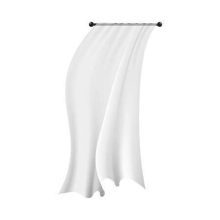 Rideau suspendu blanc réaliste soufflant dans le vent. Décoration d'intérieur textile avec un tissu semi-transparent fluide isolé sur fond blanc - illustration vectorielle.