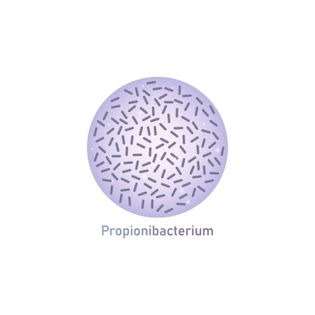 Propionibacterium rod-shaped genus of bacteria useful food ferment, vector illustration isolated on white background. Medical, healthcare and scientific concept. Illustration