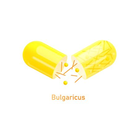Bulgaricus probiotics bacteria in yellow pill icon, colorful realistic vector illustration isolated on white background. Nutritional medical supplements capsule.