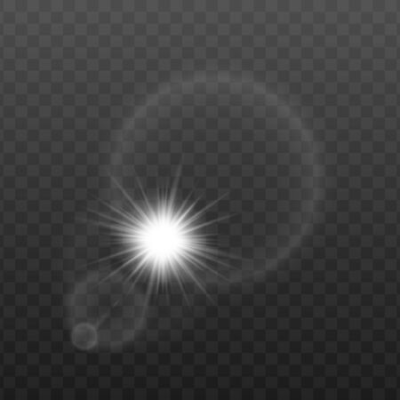 Sun rays or flush bulb light reflection in round lens effect 3d realistic vector illustration isolated on transparent background. Abstract round glowing flare layout. Ilustração