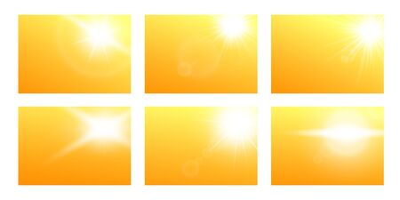 Sun sparkling rays - light effect template, realistic vector illustrations banners set on yellow background. Solar flares and flashes, light beams backdrops collection. Çizim