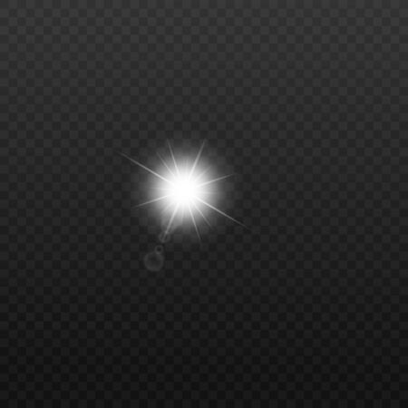 Sun or electric bulb flash light 3d realistic effect vector illustration isolated on transparent background. Abstract round glowing and blurred sunlight flare layout. Ilustração