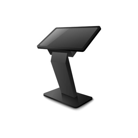 Interactive kiosk or advertising terminal stand with black screen for apps presentation, 3d realistic vector template illustration isolated on white background. Illustration