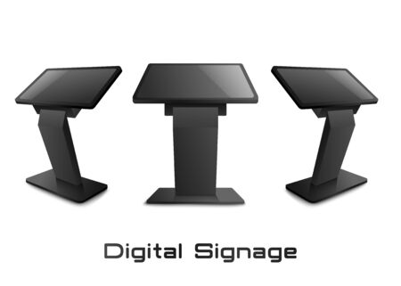 Digital signage stand or advertising display terminal in various views set, 3d realistic mockup or template vector illustration isolated on white background. Vektoros illusztráció