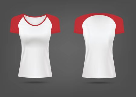 Mockup of women sport t-shirt from combined fabrics with red sleeves front and back view, realistic vector illustration isolated on background. Brand identity template. Illusztráció