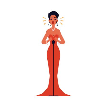 Opera or jazz concert female singer in red evening dress standing with microphone, flat cartoon vector illustration isolated on white background. Music art entertainment.