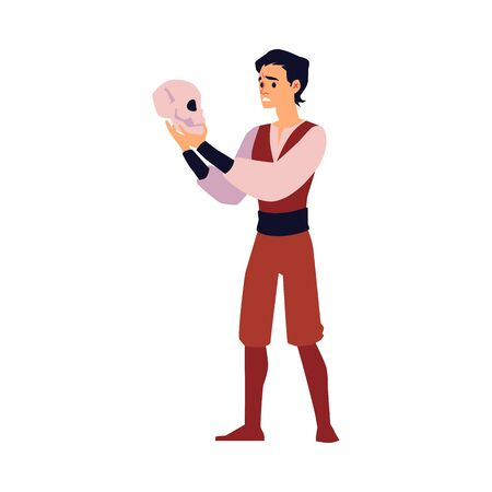 Cartoon actor holding skull and performing monologue - young man in medieval costume acting in theater play. Isolated flat vector illustration.