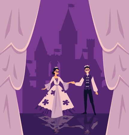 Show with actors in fabulous stage costumes cartoon characters on performance platform with scenery of play, flat vector illustration. Theater entertainment background.