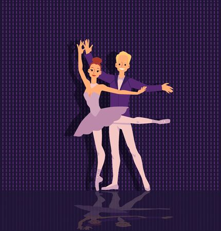 Classic ballet dancers couple in elegant beautiful pose flat cartoon vector illustration on dark background. Theater artists in music entertainment performances.