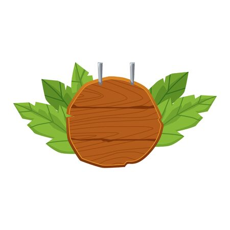Round blank wooden sign with green leaves hanging from above isolated on white background - cartoon signpost element with copy space. Flat vector illustration
