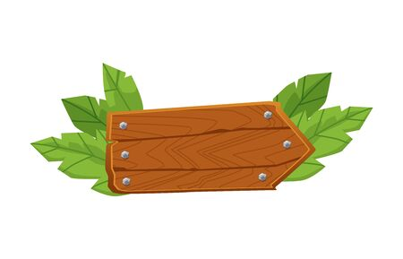 Blank wooden arrow plank with green leaves - summer signpost decoration element isolated on white background. Road direction pointer - flat cartoon vector illustration Vektorové ilustrace