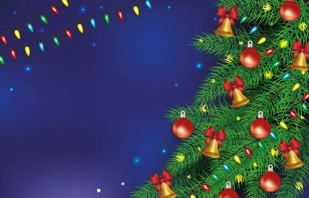 Christmas poster and banner decorated with balls, bells and garlands tree on blue background. Christmas and holiday banner with empty space, realistic vector illustration.