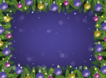 Christmas and New Year holiday decorative frame vector illustration on violet with bokeh effect background. Xmas tree branches decorated with balls greeting banner.