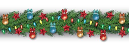 Christmas tree branch border with holiday decorations isolated on white background - fir branches with red stars, fairy lights and colorful baubles, vector illustration.