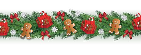 Isolated Christmas border with realistic fir tree branches decorated with gingerbread cookie men, gift boxes, snowflakes and red ribbons - holiday vector illustration