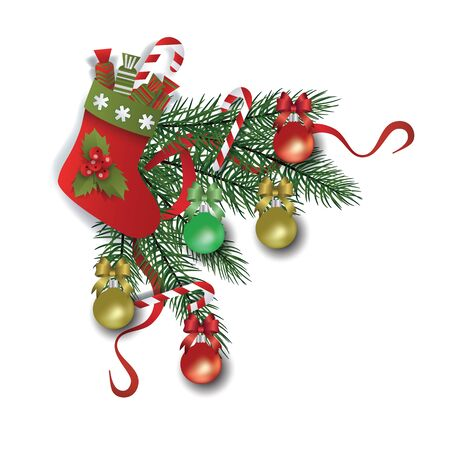 Christmas border and decoration with xmas tree branches and balls, red ribbon and boot with gifts and candies. Isolated vector illustration for decoration and celebration.
