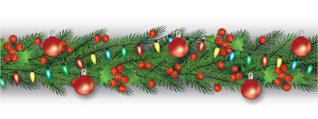 Christmas decoration and garland for winter xmas celebration. Garland with christmas tree branches, holly leaves and berries, string lights and balls. Isolated realistic vector illustration.