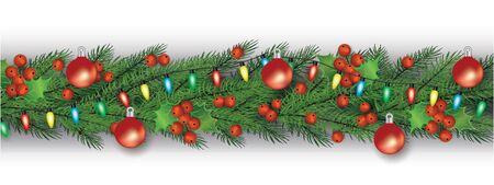 Décoration de Noël et guirlande pour la célébration de Noël d'hiver. Guirlande avec branches d'arbres de Noël, feuilles et baies de houx, guirlandes lumineuses et boules. Illustration vectorielle réaliste isolée.
