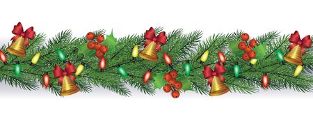 Christmas, New Year horizontal fir or pine green branches with garland and cute vintage Xmas bells, realistic vector illustration isolated on white background. Standard-Bild - 134857080