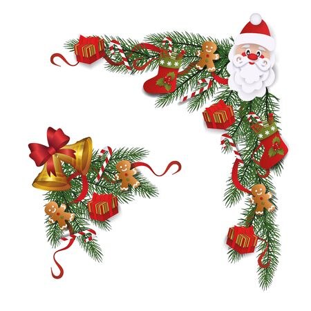 Set of Christmas winter decorative wreaths or borders with Santas face and Xmas bells flat vector illustration isolated on white background. New Year traditional design.