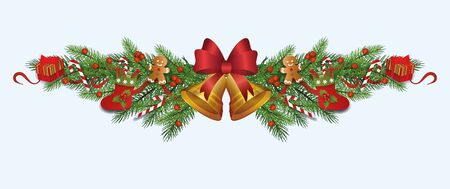 Ornate Christmas decoration border made of fir tree branches with gold bell, red berries, gift stockings and boxes - realistic holiday ornament divider, isolated vector illustration. Ilustracja