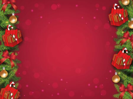 Red winter christmas background template with border of fir tree branches, gifts, ribbon and balls for decoration, realistic vector illustration. Standard-Bild - 134857064