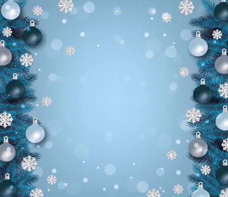 Winter and december christmas background template with border of fir tree branches, snowflakes and balls for decoration on holiday, realistic vector illustration.