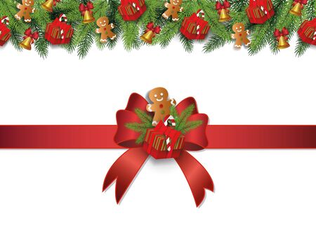 Christmas border and winter decorartion for celebration xmas holiday. Christmas winter decoration with gingerbread and bow, red ribbon and gift, bell. Isolated realistic border vector illustration. Ilustracja