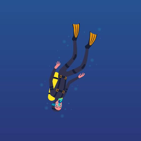 Cartoon diver man swimming upside down underwater in dark blue sea in full diving costume with oxygen tank. Ocean water explorer - flat isolated vector illustration.