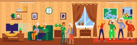 Nursing home interior banner with cartoon elderly people doing fun activities - dance exercise and watching TV on sofa. Retirement facility room - flat vector illustration Stock Illustratie
