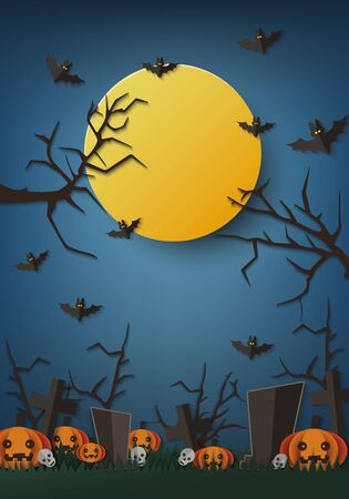 Scary Halloween night poster template with big full moon on dark blue sky with spooky trees and flying bats over graveyard pumpkin patch - vector illustration
