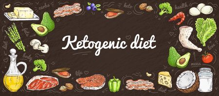 Banner of hand drawn ketogenic diet, healthy food concept. Hand drawn vector illustration of keto diet.