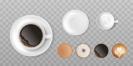 Set of white ceramic cups and different types of coffee, top view. Template of mugs with different types of coffee, espresso and cappuccino, latte and mocha, realistic vector illustration.