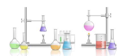 Scientific equipment in a chemical laboratory. Medical beakers for experiments and research. Realistic vector isolated illustration of chemical equipment with beakers and holders, bottles and burner. Illustration