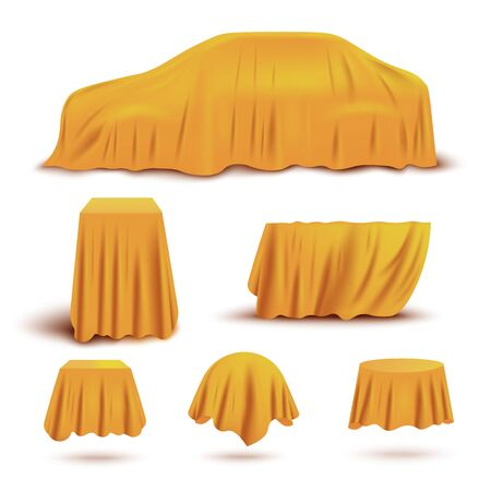 Set of objects and gifts covered with realistic yellow covers for curtains. Car, stands and boxes covered with yellow silk or satin fabric, isolated realistic vector illustration.
