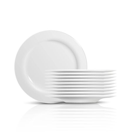 A pile and stack of clean white dishes and plates for serving food at home, in the kitchen and in the restaurant. Isolated realistic vector illustration of clean plates and dishes.