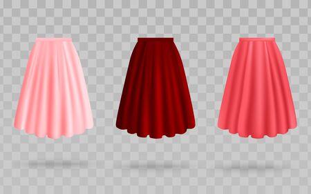 Faldas de colores rosa, rosa y rojo, conjunto de ropa de tela de mujer de maquetas de ilustración vectorial realista aisladas sobre fondo transparente. Falda maxi o midi de tejido plisado.