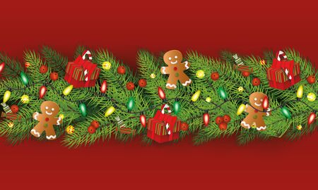Christmas fir green branches horizontal garland, border element decorated with gingerbread men, gift boxes and lights, flat cartoon vector illustration on red background. Ilustracja