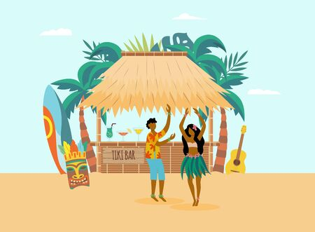 Hawaiian ocean coast landscape background with man and woman cartoon character and beach cocktail bar, flat vector illustration. Exotic tropical land vacation and leisure.