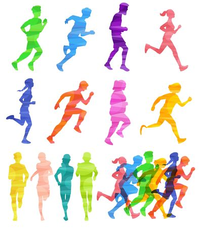 Colorful runner crowd silhouette set - athletic people running a race or training for sport competition. Jogging men and women isolated on white background - vector illustration