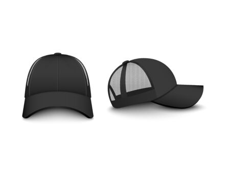 Template of trucker cap with mesh front and side view set of realistic vector illustrations isolated on white background. Men fashion sport or casual hat template.